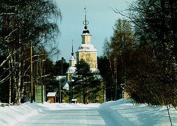 Paltaniemen kuvakirkko hallitsee kirkonkylän maisemaa.